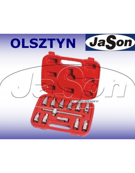 """Kpl. kluczy do korków spustowych oleju [12szt.] z pokrętłem 3/8"""" / walizka z tworzywa"""