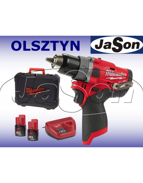 Wiertarko-wkrętarka akumulatorowa udarowa 12V / 44 Nm / walizka + 2 x aku.akumulatora + ładowarka