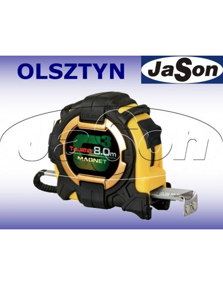 Miara zwijana 8m / 27mm / stalowa / dwustronna / obudowa zamknięta gumowa / G3 LOCK