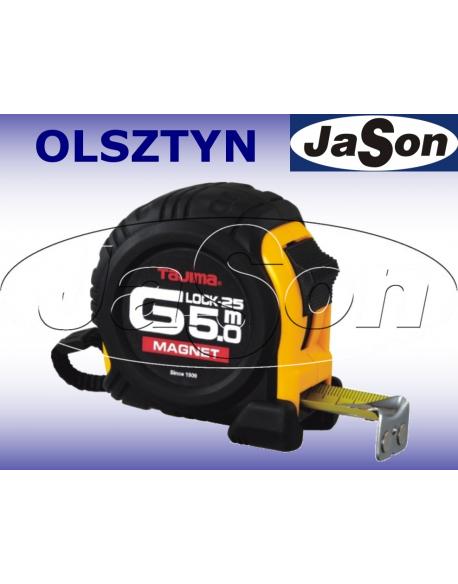Miara zwijana 5m / 25mm / stalowa / dwustronna / z magnesem / obudowa zamknięta gumowa / MAGNET-G