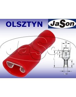 Konektor płaski 6,3x0,8mm2 izolowany /ż/ Pn / z tulejką Cu [100szt.] czerwony