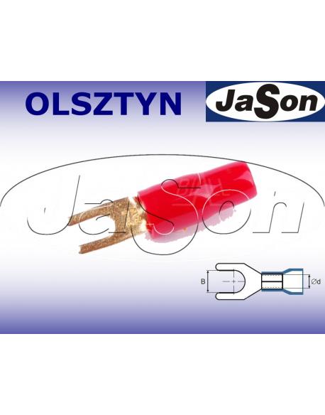 Końcówka kablowa widełkowa M 4/ 10mm/ złocona/ czerwona