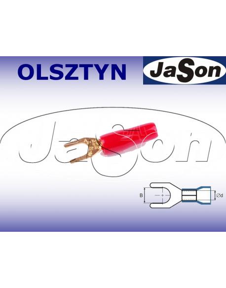 Końcówka kablowa widełkowa M 4 / 2,5mm/ złocona/ czerwona