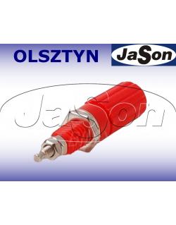 Gniazdo pomiarowe laboratoryjne 4mm z zaciskiem GLZ826-R 19A, czerwone