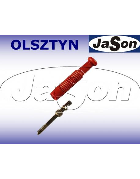 Wtyk pomiarowy 6A / 2mm/ 37mm/ kołkowy / lamelkowy / ze sprężynką / czerwony